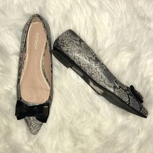 Topshop Animal Print Flats with Bow Size 38